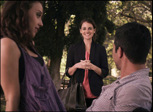 "Nicole Hayden and Walter Perez and Stella Maeve in ""The Park Bench"""