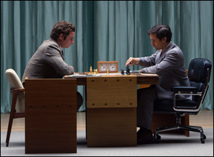"""Liev Schreiber and Tobey Maguire in """"Pawn Sacrifice"""""""