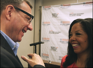"Rev. Rob Schenck and Lucy McBath in ""The Armor of Light"""
