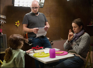 """Lenny Abrahamson, Jacob Tremblay and Brie Larson in """"Room"""""""