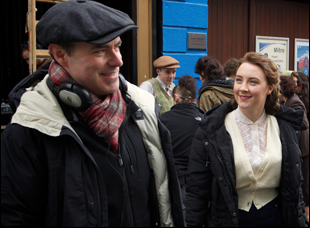 "John Crowley and Saoirse Ronan on the set of ""Brooklyn"""