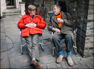 "Alex Jennings and Alan Bennett on the set of ""The Lady in the Van"""