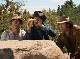 "Taylor Lautner, Luke Wilson and Adam Sandler in ""The Ridiculous 6"""