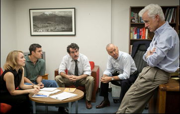"Rachel McAdams, Mark Ruffalo, Brian d'Arcy James, Michael Keaton and John Slattery in ""Spotlight"""