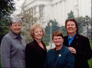 "Jackie Goldberg, Christine Kehoe, Carole Migden, Sheila Kuehl in ""Political Animals"""