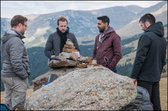 "Arsher Ali, Rafe Spall, Robert James-Collier, Sam Troughton and Paul Reid in ""The Ritual"""