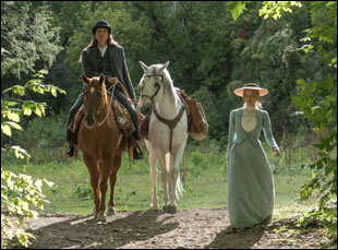 "Jessica Chastain and Michael Greyeyes in ""Woman Walks Ahead"""