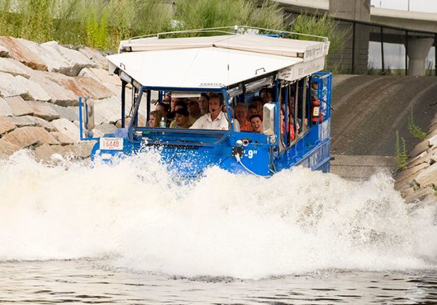 Duck boat crosses charles river