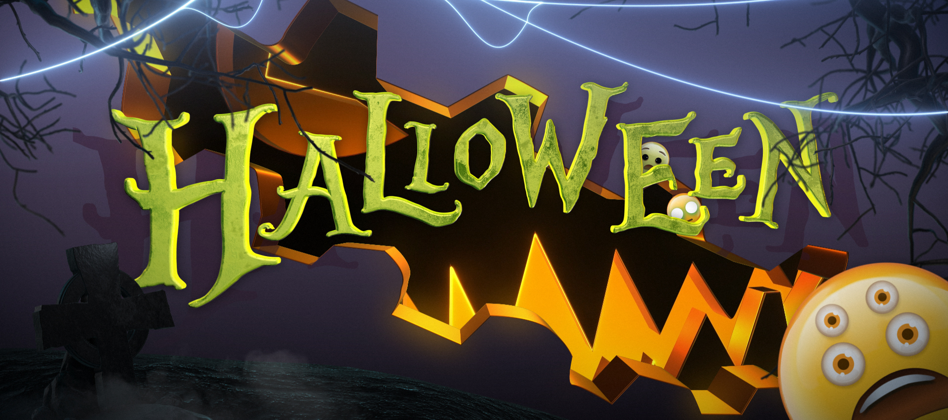 Halloween, motion graphic, animation, animated, elements, lower third, transition, pumpkin, horror