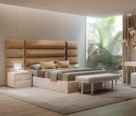 Mobiliário de quarto com detalhes e pormenores em inox