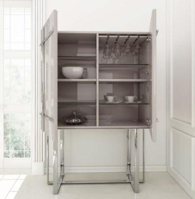 Móvel Bar em lacado alto brilho branco com pés em inox. Personalize o mesmo de acordo com o seu gosto e espaço.