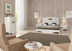 Quarto Casal em lacado alto brilho branco com detalhes em talha dourada. Transforme o seu quarto num Quarto de Sonho!