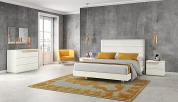 Quarto Casal em melamina cor branco com detalhes em lacado arena. Transforme o seu quarto num Quarto de Sonho!
