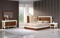 Quarto Casal em lacado alto brilho beje e nogueira. Transforme o seu quarto num Quarto de Sonho!