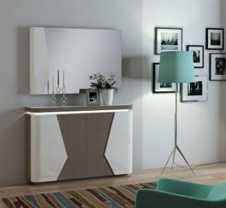 Sapateira em carvalho taupê e lacado alto brilho branco. Peças de mobiliário que transformam os ambientes.
