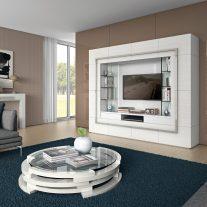 Sala de Estar em carvalho e lacado branco. Personalizamos os acabamentos e as dimensões.