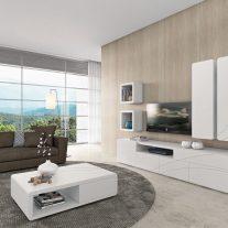 Sala de Estar em carvalho branco com frisos inox. Personalizamos os acabamentos e as dimensões.