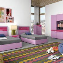 Quarto Juvenil em lacado rosa e lilás. Personalizamos o nosso mobiliário, contacte-nos!