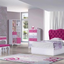 Quarto Juvenil em lacado branco, rosa e lilás. Personalizamos o nosso mobiliário, contacte-nos!