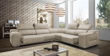 Sofá de canto com assentos deslizantes. Cada modelo tem várias medidas e revestimentos (tecidos e peles) possíveis.