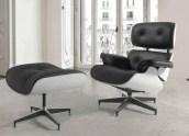 Cadeirão e apoio de pés com base rotativa com estrutura em madeira estofado em pele sintética cor preto