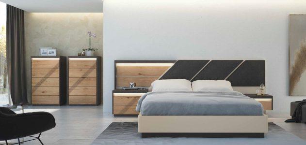Quarto Casal em carvalho natural e lacado taupê com Led´s. Transforme o seu quarto num Quarto de Sonho!