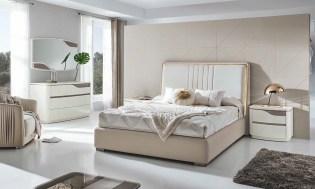 Cama Casal estofada com Led´s com mobiliário em lacado alto brilho perola e champanhe. Transforme o seu quarto num Quarto de Sonho!