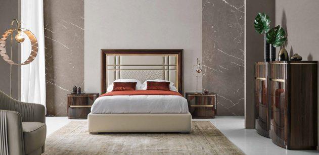 Cama estofada em microfibra, mobiliário em eucalipto alto brilho com detalhes em dourado. Transforme o seu quarto num Quarto de Sonho!