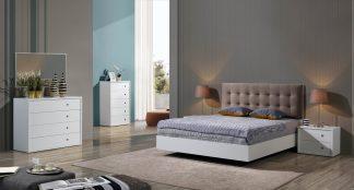 Cama estofada em tecido, mobiliário em lacado branco mate. Transforme o seu quarto num Quarto de Sonho!