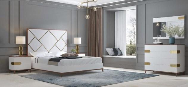 Quarto Casal em lacado branco mate e nogueira com detalhes em dourado. Transforme o seu quarto num Quarto de Sonho!
