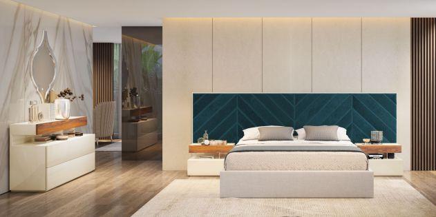 Cama estofada em tecido, mobiliário em cerejeira e lacado alto brilho branco. Transforme o seu quarto num Quarto de Sonho!