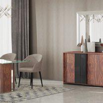 Sala de Jantar em pau ferro e lacado alto brilho preto com detalhes em inox. Sala de jantar onde pode personalizar os acabamentos. Consulte-nos para encontrar a melhor solução para o seu espaço!