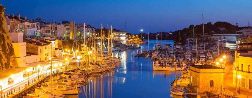 ciutadella menorca port sunset town hall and cathedral in balearic islands