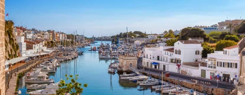 ciutadella port on sunny day, menorca
