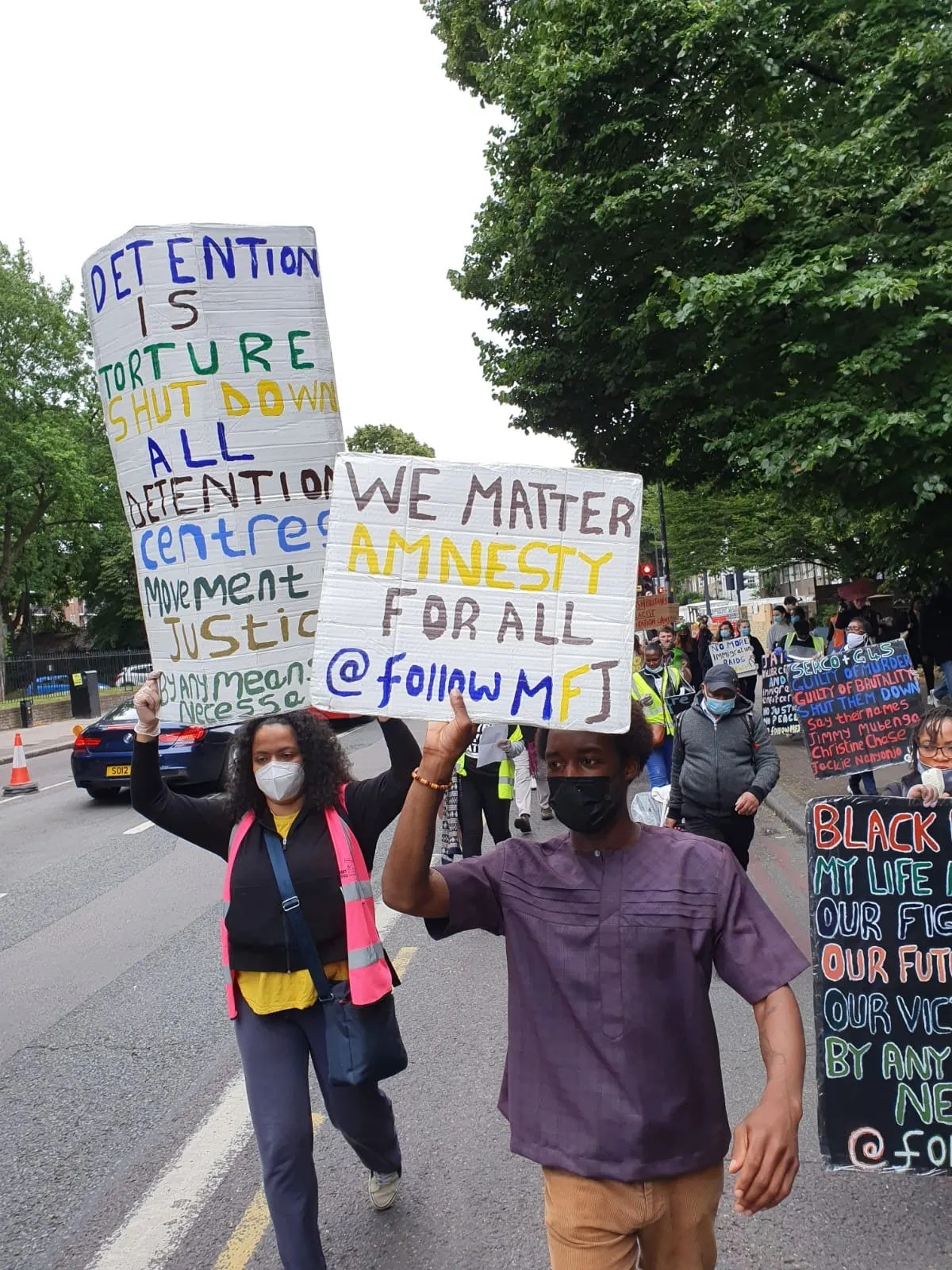photo/video report from MFJs immigrant rights march 4 July 2020