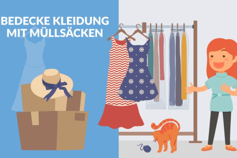 Bedecke Kleidung mit Müllsäcken