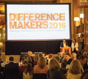 Co-chairs Joe Wiles and Donna Zaring welcome guests to the 2016 Duke Energy Children's Museum Difference Makers Celebration at Cincinnati Museum Center.