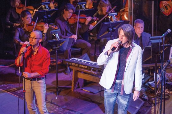 Josh Steele and Stuart Anthony at a KSO Blood, Sweat & Tears/Chicago tribute in May 2015.
