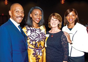 Jada Fountain (center left) with Zonta president Connie Kingsbury (center right) and Fountain's parents.