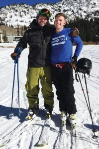 Kyle and Jim Harris, on the slopes one year after Jim's accident