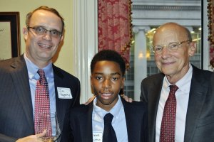 """Student ambassador Laurence Christian (center) with Jim Hagerty and James B. """"Rick"""" Reynolds, major gifts committee co-chairs"""