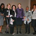 Dora Anim, COO of the Greater Cincinnati Foundation; Ellen Katz, CEO of the foundation; Shakila Ahmad, president of the Islamic Center; Cokie Roberts; Merri Gaither Smith; and Carole Rigaud