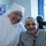 Sister Mary Imelda with resident Gene Schnurr