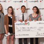 Villa Madonna High School: teacher Eileen O'Connell; students Casey Land, Maddie Berberich, Connor Herbert and Erica Hassoun; and Kelly Camm of 4 Paws for Ability