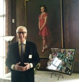 Ed Lahniers, partner of the late Stephen Birmingham, with a collage made by Helene Bentley