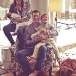 Betsy and Chris Leonidas with their children Hayden (5), Adeline (3) and twins Ethan and Alex (now 5 months, newborns in photo).