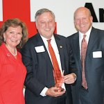 Trish Smitson, Red Cross regional CEO; honoree Mike Michael, and Chris Froman, outgoing Red Cross board chair