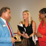 Aaron Bley, Red Cross major gift officer; Marijke Woodruff, Red Cross board member and chief people officer for Health Carousel; and Delores Hargrove-Young, incoming Red Cross board chair