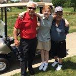 Rick Daniels, retired CEO of Furniture Fair; Karmen Hartman, Ed Hartman's granddaughter and a leukemia survivor; and Ed Hartman, marketing director for Furniture Fair