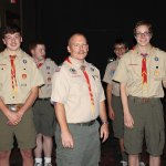 Assistant Scoutmaster Rohn Reminga (center) with Troop 914 leaders Luke Blados, Alexis Laude, Sam Hamad and Michael Dame